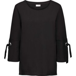 Bluza z oczkami i sznurowaniem bonprix czarny. Czarne bluzy damskie bonprix, w paski. Za 69,99 zł.