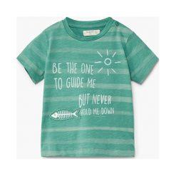Mango Kids - T-shirt dziecięcy Fish 80-104 cm. Niebieskie t-shirty chłopięce z nadrukiem marki Mango Kids, s, z bawełny, z okrągłym kołnierzem. W wyprzedaży za 29,90 zł.