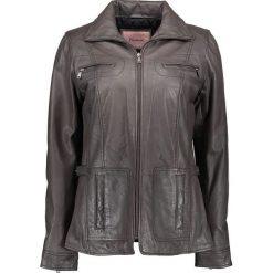 Bomberki damskie: Skórzana kurtka w kolorze szarobrązowym