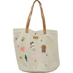 """Shopper bag damskie: Shopper bag """"Peanuts"""" w kolorze beżowym ze wzorem – 44 x 55 x 3,8 cm"""