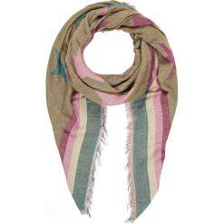 Chusty damskie: Chusta w kolorze jasnobrązowo-turkusowo-jasnoróżowym – 130 x 130 cm