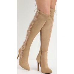 Beżowe Kozaki Lou. Brązowe buty zimowe damskie marki Born2be, ze szpiczastym noskiem, na wysokim obcasie. Za 99,99 zł.