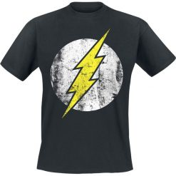The Flash Distressed Logo T-Shirt czarny. Czarne t-shirty męskie z nadrukiem The Flash, xl, z okrągłym kołnierzem. Za 89,90 zł.
