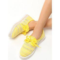 Żółte Espadryle Americanos. Żółte tomsy damskie Born2be, ze skóry, na niskim obcasie, na platformie. Za 49,99 zł.