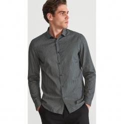 Koszula slim fit z drobnym wzorem - Khaki. Brązowe koszule męskie slim marki LIGNE VERNEY CARRON, m, z bawełny. Za 99,99 zł.