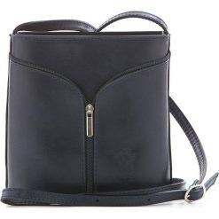 Torebki klasyczne damskie: Skórzana torebka w kolorze granatowym – 17 x 19 x 7 cm