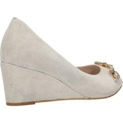 Czółenka AURELIA. Szare buty ślubne damskie Gino Rossi, ze skóry, na wysokim obcasie, na obcasie. Za 199,90 zł.