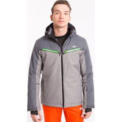Kurtka narciarska męska KUMN008z - szary melanż - 4F. Szare kurtki męskie pikowane marki 4f, na jesień, m, melanż, z dzianiny, z kapturem. Za 399,99 zł.