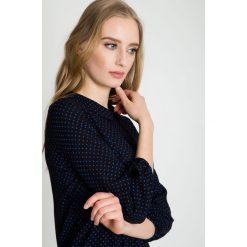 Bluzki asymetryczne: Granatowa bluzka w delikatne groszki BIALCON