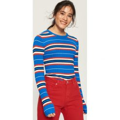 Prążkowany sweter w paski - Wielobarwn. Szare swetry klasyczne damskie marki Sinsay, l, prążkowane. W wyprzedaży za 39,99 zł.
