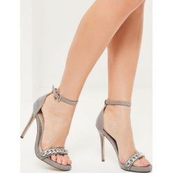 Missguided - Sandały. Szare sandały damskie marki Missguided, z materiału, na obcasie. W wyprzedaży za 89,90 zł.