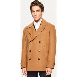 Krótki płaszcz z wełną - Zielony. Zielone płaszcze na zamek męskie marki Reserved, l, z wełny. Za 279,99 zł.