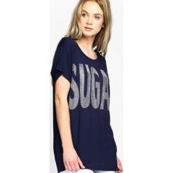 T-shirty damskie: Granatowy T-shirt Sugar Cane