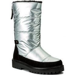 Kozaki JENNY FAIRY - WYL1127A-2 Srebrny. Szare buty zimowe damskie marki Jenny Fairy, z materiału, przed kolano, na wysokim obcasie. Za 189,99 zł.