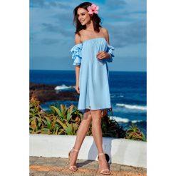 Idealna sukienka bez ramion  błękitna FIFI. Niebieskie sukienki balowe marki Reserved, z odkrytymi ramionami. Za 159,90 zł.