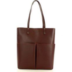 Shopper bag damskie: Torebka skórzany shopper z kieszeniami MARCO MAZZINI - bordo