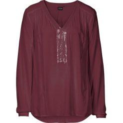 Bluzki asymetryczne: Bluzka z cekinami bonprix czerwony klonowy