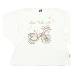 Koszulka w kolorze kremowym. Białe bluzki dziewczęce bawełniane Street Monkey, z okrągłym kołnierzem, z długim rękawem. W wyprzedaży za 39,95 zł.
