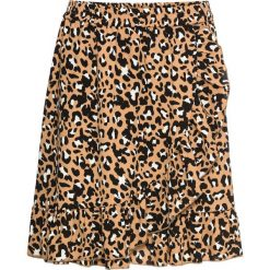Spódnica w cętki leoparda z falbanami bonprix brązowy leo. Brązowe spódniczki bonprix, w kolorowe wzory. Za 99,99 zł.