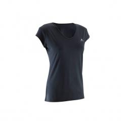 Koszulka fitness krótki rękaw 100 damska. Czarne bluzki sportowe damskie marki DOMYOS, xl, z bawełny. Za 19,99 zł.