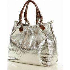 Skórzana torebka shoppe carina. Białe kuferki damskie Verostilo, w paski, ze skóry, do ręki. Za 250,00 zł.