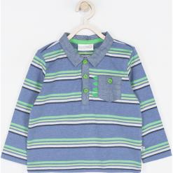 Koszulka. Niebieskie t-shirty chłopięce z długim rękawem BABY DINO, z aplikacjami, z bawełny. Za 45,90 zł.