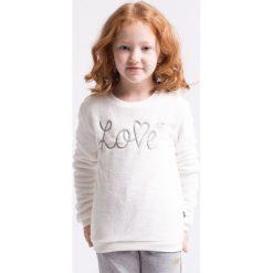 Bluza dla małych dziewczynek JBLD103z - kremowa biel - 4F. Białe bluzy dziewczęce rozpinane 4F JUNIOR, na jesień, z nadrukiem, z dresówki. Za 39,99 zł.