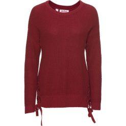 Swetry klasyczne damskie: Sweter ze sznurowaniem bonprix pomarańczowo-czerwony
