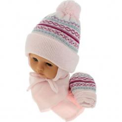 Czapka niemowlęca z szalikiem i rękawiczkami CZ+S+R 013B. Szare czapeczki niemowlęce Proman. Za 45,90 zł.
