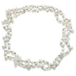 Naszyjniki damskie: Naszyjnik z pereł i kwarców – (D)116 cm