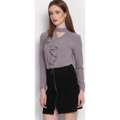 Szara Koszula Clockwise. Szare koszule damskie Born2be, z tkaniny, eleganckie, z okrągłym kołnierzem, z długim rękawem. Za 59,99 zł.