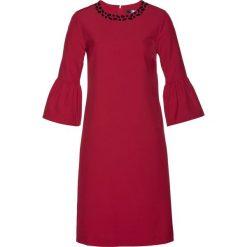 Sukienka bonprix ciemnoczerwony. Czerwone sukienki na komunię bonprix, z elastanu, z okrągłym kołnierzem. Za 89,99 zł.