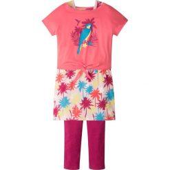 """Shirt """"boxy"""" + sukienka + legginsy (3 części) bonprix jasnoróżowy. Czerwone legginsy dziewczęce marki bonprix, z długim rękawem, długie. Za 37,99 zł."""