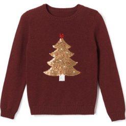 Swetry dziewczęce: Sweter z choinką z cekinami 3-12 lat