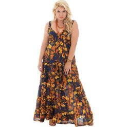 Odzież damska: Sukienka w kolorze granatowo-pomarańczowym