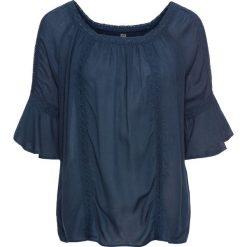 Bluzki damskie: Bluzka kreszowana z koronkową wstawką bonprix głęboki niebieski