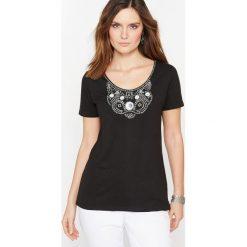 T-shirty damskie: Haftowany T-shirt z czystej czesanej bawełny