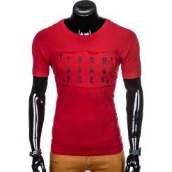 T-SHIRT MĘSKI Z NADRUKIEM S975 - BORDOWY. Czerwone t-shirty męskie z nadrukiem marki Ombre Clothing, m. Za 29,00 zł.