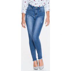 Spodnie damskie: SPODNIE DŁUGIE DAMSKIE, JEANSOWE RURKI Z PRZETARCIAMI