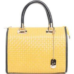 Torebki klasyczne damskie: Skórzana torebka w kolorze żółtym – 30 x 26 x 17 cm