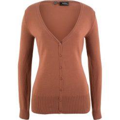 Sweter rozpinany bonprix orzechowy. Niebieskie kardigany damskie marki bonprix, z nadrukiem. Za 37,99 zł.