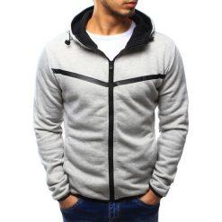 Bluzy męskie: Bluza męska rozpinana szara z kapturem (bx3195)