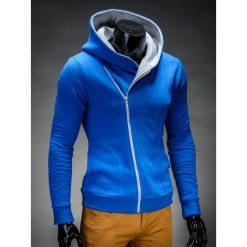 BLUZA MĘSKA ROZPINANA Z KAPTUREM PRIMO - NIEBIESKO/SZARA. Niebieskie bluzy męskie rozpinane marki Ombre Clothing, m, z bawełny, z kapturem. Za 75,00 zł.