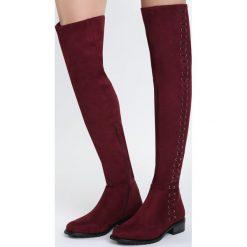 Bordowe Kozaki Moons. Czerwone buty zimowe damskie marki Born2be, z materiału, na obcasie. Za 149,99 zł.