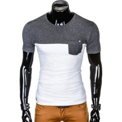 T-SHIRT MĘSKI BEZ NADRUKU S1014 - GRAFITOWY/BIAŁY. Białe t-shirty męskie z nadrukiem marki Ombre Clothing, m. Za 35,00 zł.