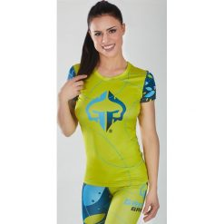 """Ground Game Sportswear Koszulka damska Rashguard """"Flowers"""" krótki rękaw Żółto-niebieska r.  S. T-shirty damskie Ground Game Sportswear, s. Za 99,00 zł."""