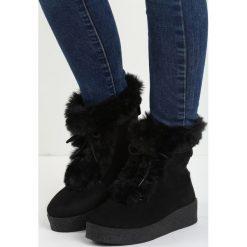 Czarne Śniegowce Little Dev. Czarne buty zimowe damskie Born2be, z materiału. Za 69,99 zł.