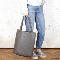 Shopper XL torba szara na zamek. Szare shopper bag damskie Pakamera, na ramię. Za 155,00 zł.