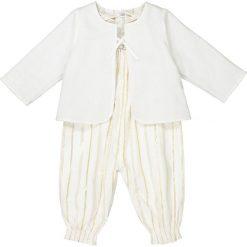 Komplet niemowlęcy kaftanik i spodnie na szelkach 1 miesiąc - 3 ans. Żółte kombinezony niemowlęce marki La Redoute Collections, w paski, z bawełny, bez rękawów. Za 132,26 zł.