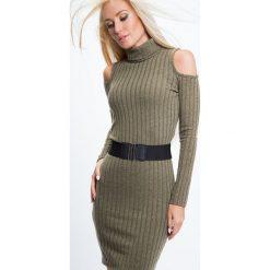 Sukienka z golfemi i pasem khaki 6476. Brązowe sukienki Fasardi, xl. Za 44,00 zł.